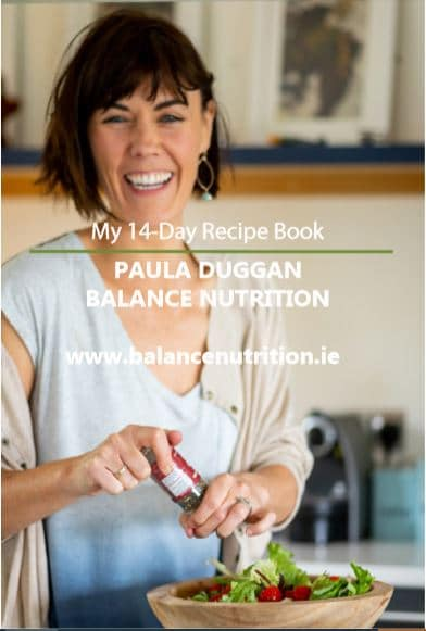 Paula Duggan Balance Nutrition 14-day recipe book, low calorie recipe book