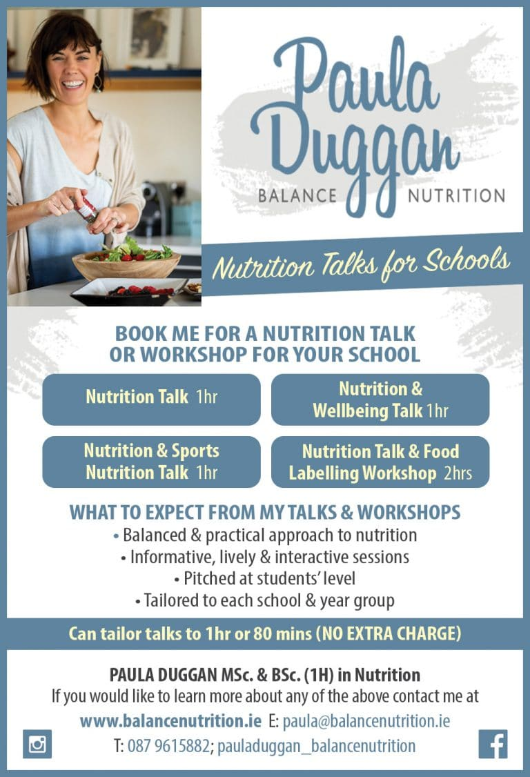 Paula Duggan Balance Nutrition does interactive nutrition talks, sports nutrition talks and wellbeing talks in secondary schools